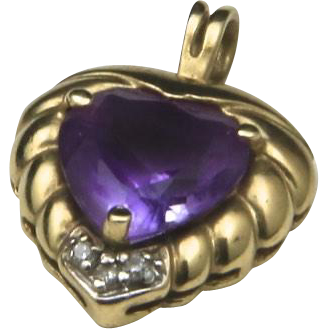 Vintage Amethyst & Diamond Heart Pendant 10k Yellow Gold Love Romance Gift