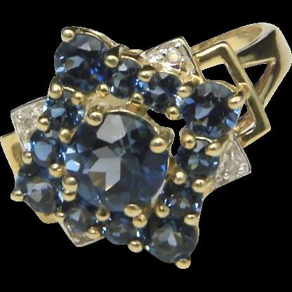 Vintage Blue Topaz Diamond & 10k Yellow Gold Ring Multi Stone Cocktail Sparkle 7