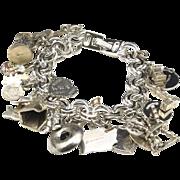 Vintage Monet Charm Bracelet w/ Many Sterling Silver Charms Mostly Travel Theme