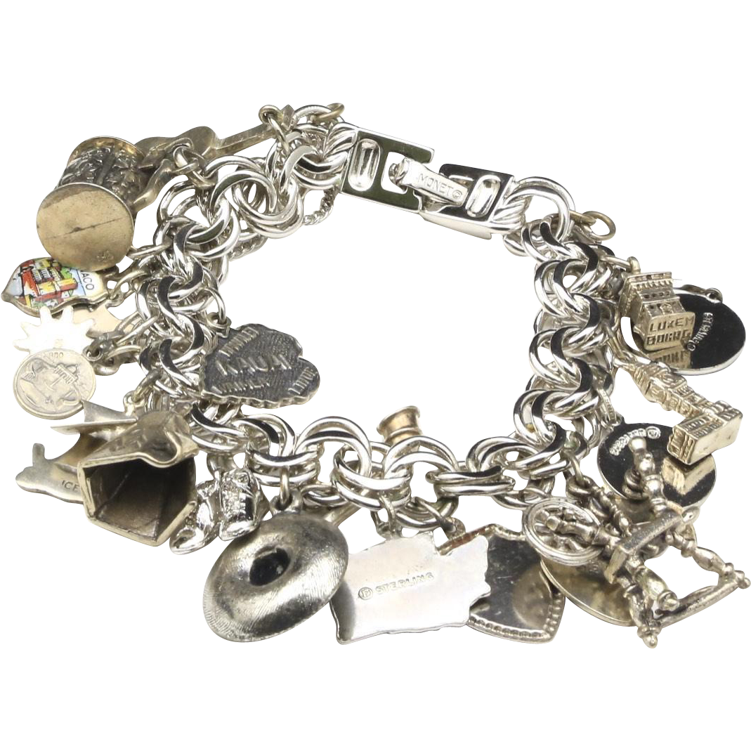 Vintage Monet Charm Bracelet w/ Many Sterling Silver Charms Mostly Travel Theme
