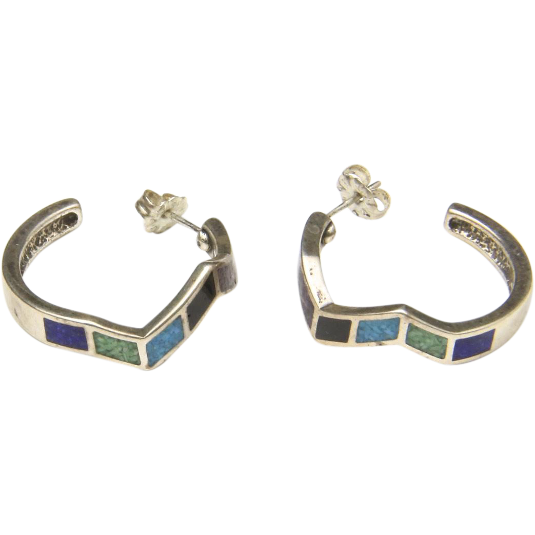 Vintage Inlay Multi Stone & Sterling Silver Earrings Geometric Unique Signed