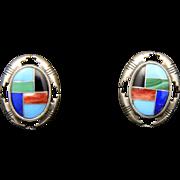 Vintage Southwestern Sterling Silver & Gemstone Inlay Earrings Signed Post Back