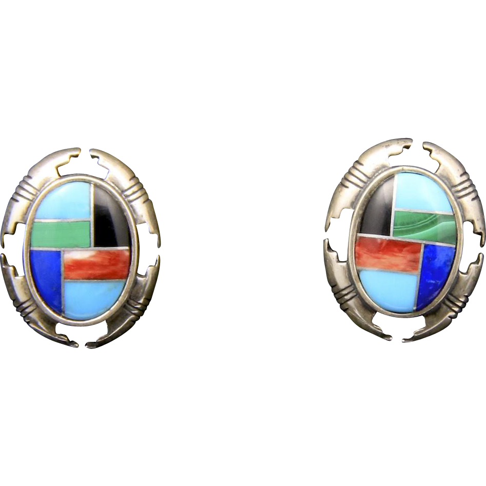 Vintage Southwestern Sterling Silver & Gemstone Inlay Earrings Signed Post Back