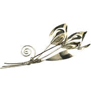 Vintage Sterling Silver Calla Lily Brooch Mid Century Pin Floral Flower Jewelry