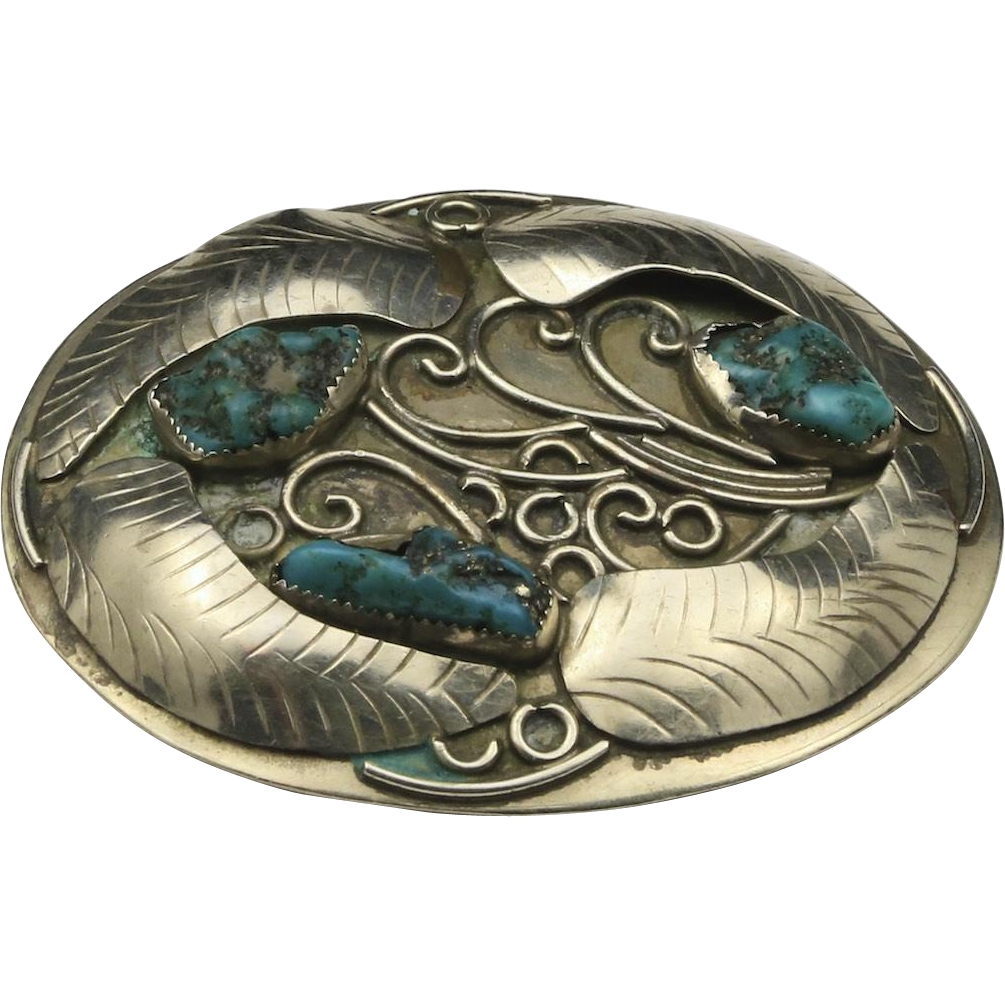 Vintage Sterling Silver Turquoise Nugget Belt Buckle Mexico Southwestern Style