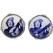 Vintage Tivoli Blue White Ceramic Silver Cufflinks Minstrel Retro Porcelain Box