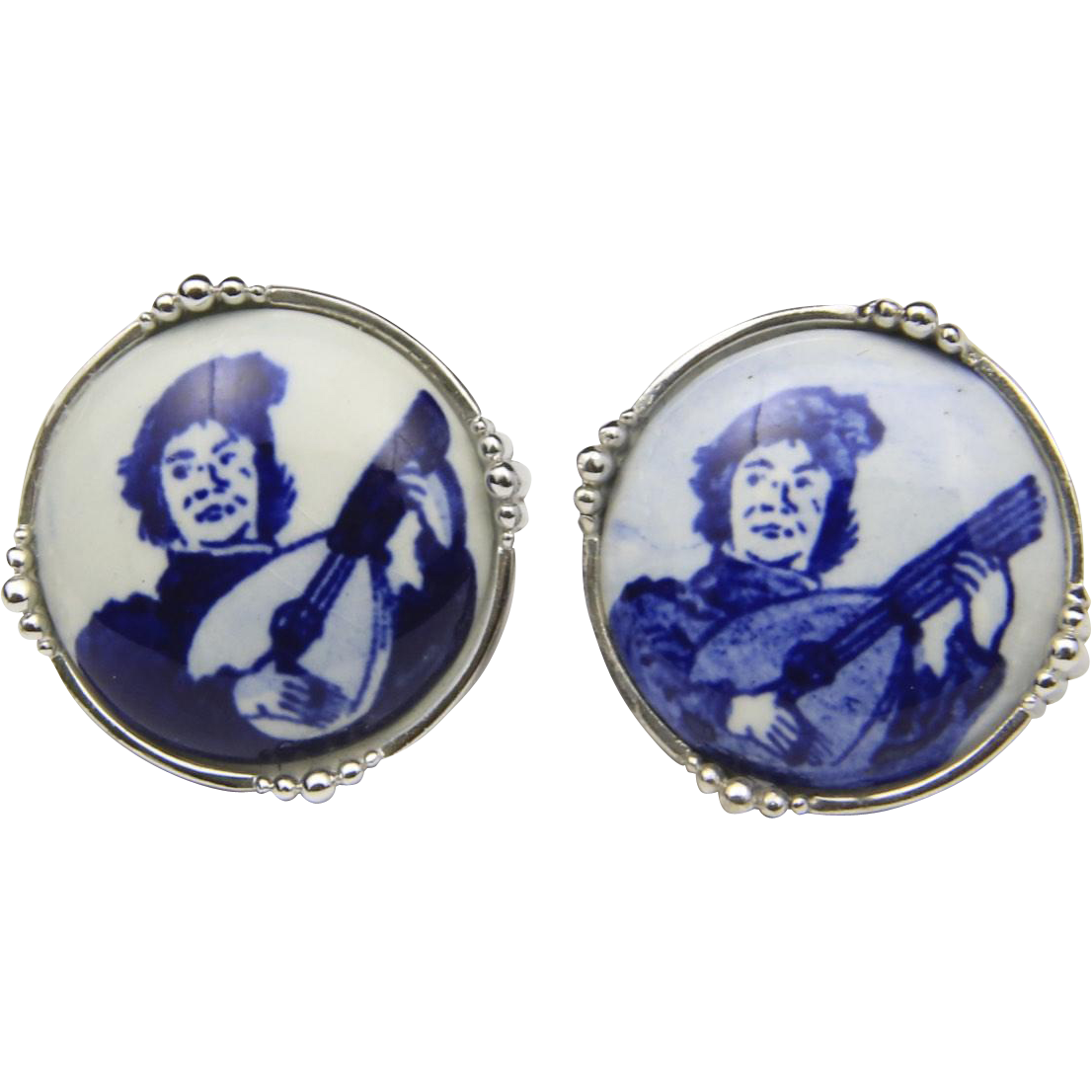 Vintage Tivoli Blue White Ceramic Silver Cufflinks Minstrel Retro Porcelain Box