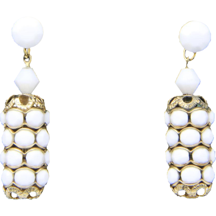 Vintage White & Gold Tone Barrel Earrings Post Back Retro Mod Dangle