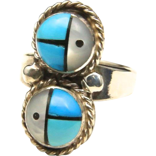 Vintage Acoma Sun Face God Ring Mother of Pearl Turquoise Inlay Ring Sz 5 Signed