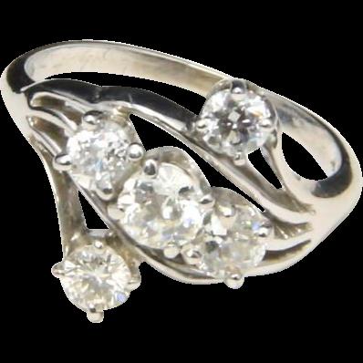 Vintage 14k White Gold & Diamond Cluster Ring Sz 6.75 Signed