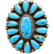 Vintage Sterling Silver and Turquoise Petit Point Style Ring Sz 8.5 Southwestern