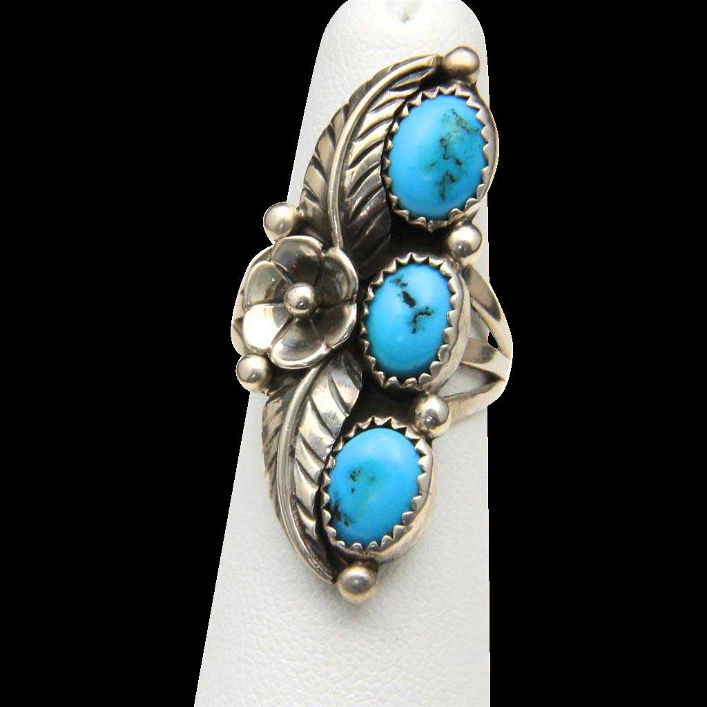 Vintage Sterling Silver & Triple Turquoise Ring Leaf Flower Southwestern Sz 6