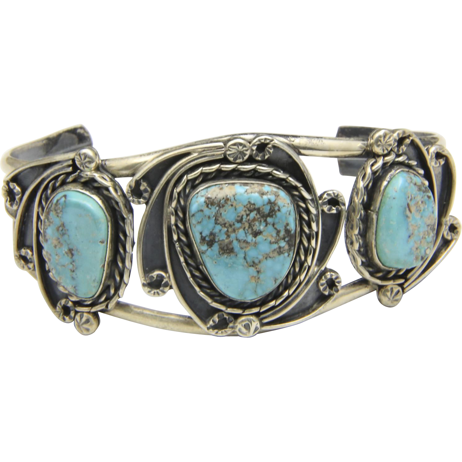 Vintage Large Three Stone Turquoise & Sterling Silver Cuff Bracelet Southwestern