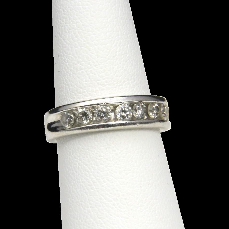 Vintage 14k White Gold Multi Diamond Channel Ring Band Wedding Anniversary 7.25