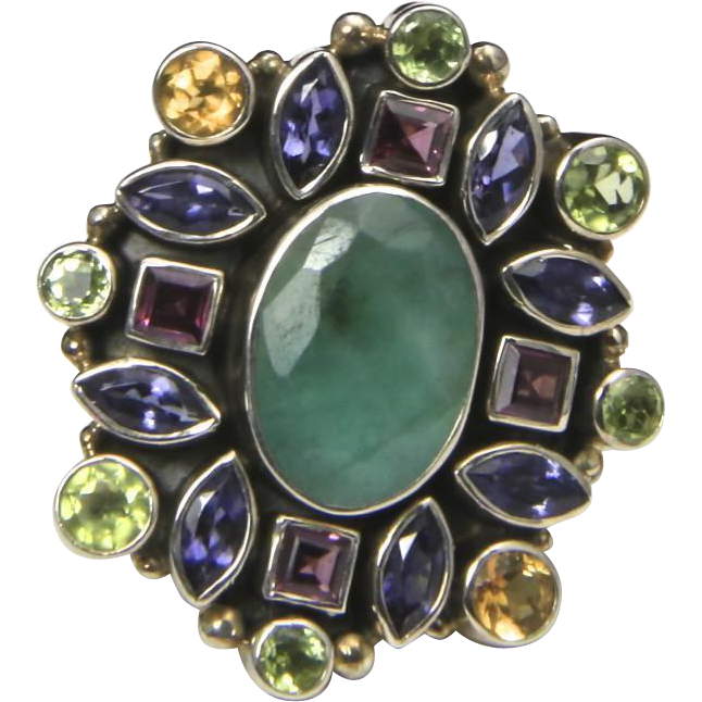 Sterling Silver & Multi Gemstone Statement Ring Sz 7 Chalcedony Amethyst Sapphire