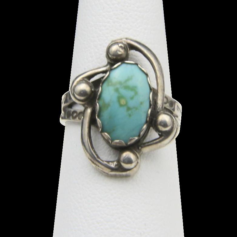 Vintage Sterling Silver & Turquoise Ring Swirl Arrow Design Southwestern Sz 5.75