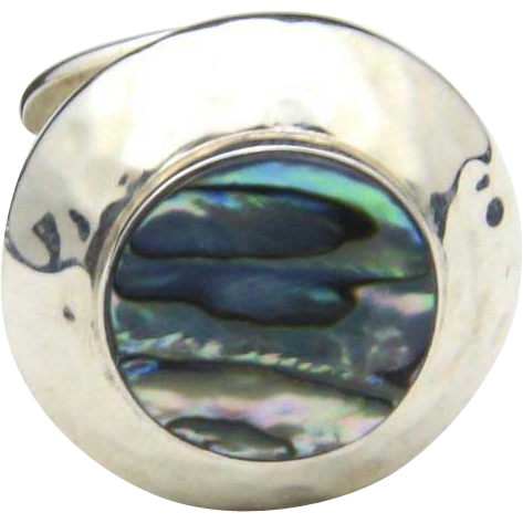 Vintage Hammered Sterling Silver & Abalone Shell Ring Mexico Sz 7.25