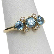 Vintage Aquamarine & Diamond 14k Yellow Gold Ring Sz 4.5 Dainty Blue Gemstone