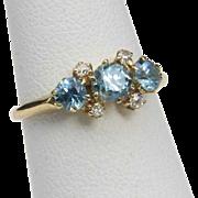 Vintage Aquamarine & Diamond 14k Yellow Gold Ring Sz 4.5 Dainty Blue Gemstone