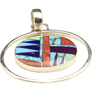Vintage Zuni Inlay Modernist Necklace Pendant Sterling Turquoise Lapis Opal Sugilite Spiny Oyster
