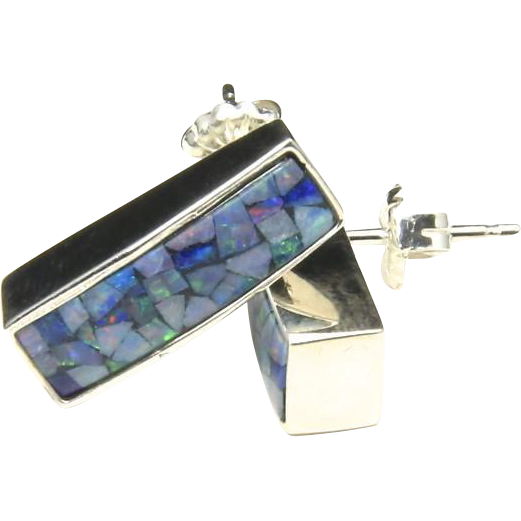 Vintage Sterling Silver & Mosaic Opal Earrings Post Back Blue Green Iridescent