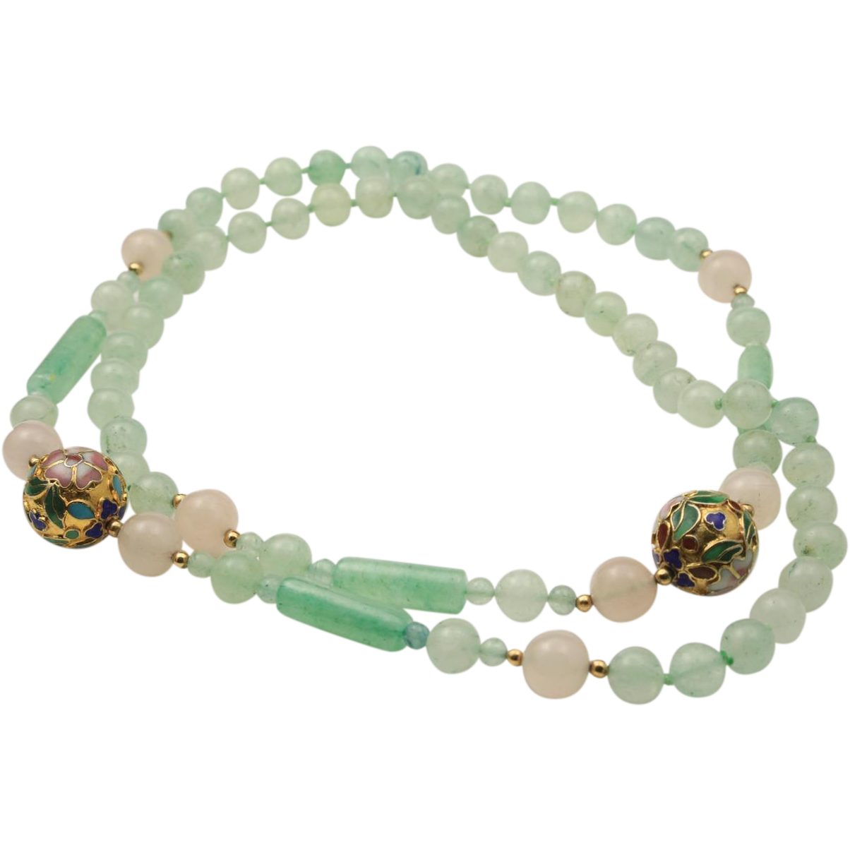 Vintage Rose Quartz & Green Aventurine Bead Necklace with Gold Cloisonne Balls