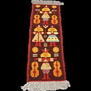 Vintage Mid Century Polish Hand-Woven Tapestry Wool Boy Girl Orange Brown Red