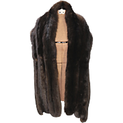 "Vintage Dyed Russian Sable Straight Fur Stole Large Quality Sable Pelts 72"" Long"