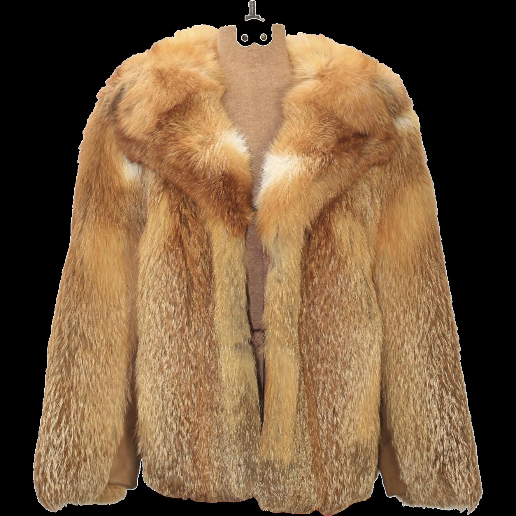 Vintage Women's Red Fox Lipman's Fur Coat Jacket Short Waist Sz Small Excellent