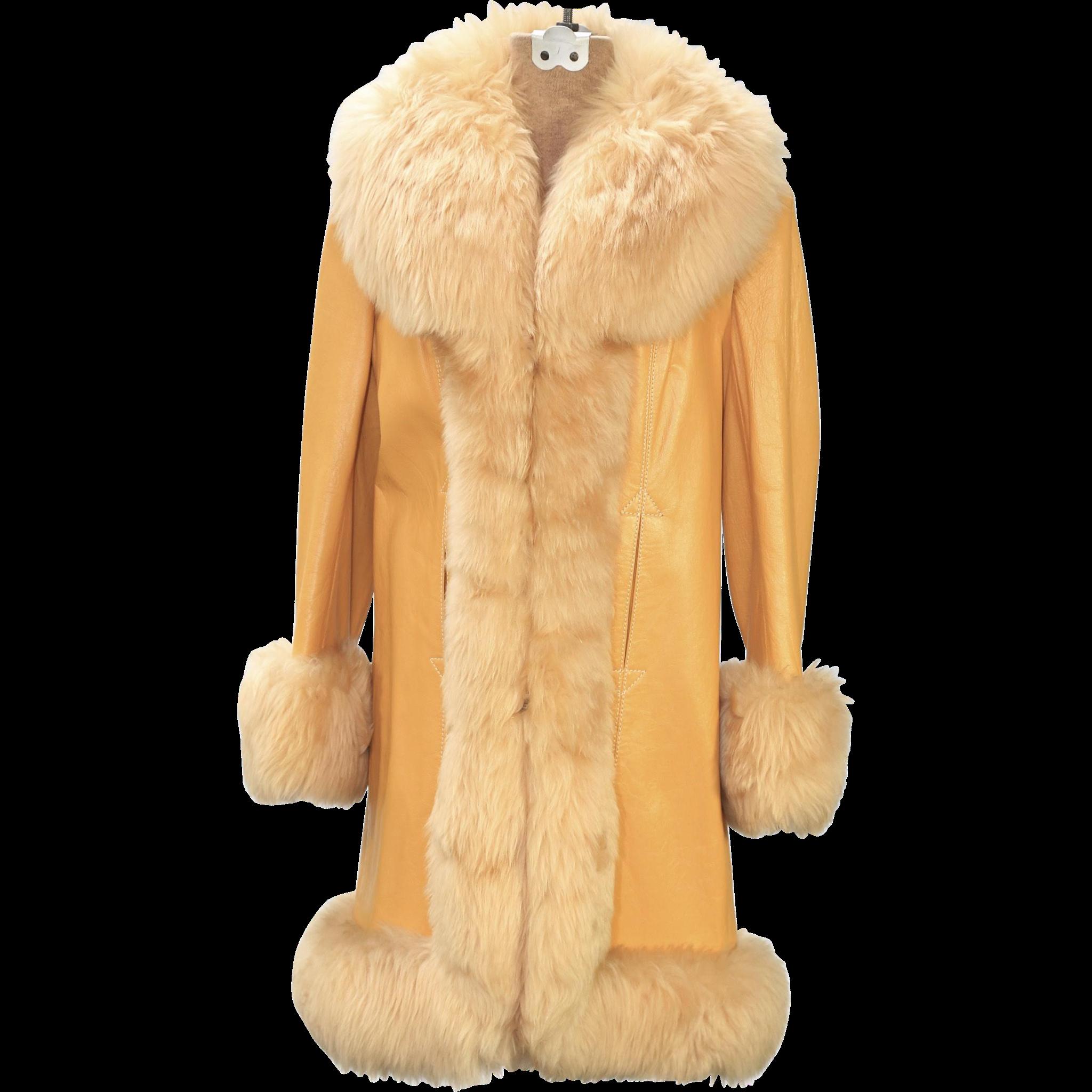 Vintage Butterscotch Leather & Shearling Coat Jacket Lantry ...