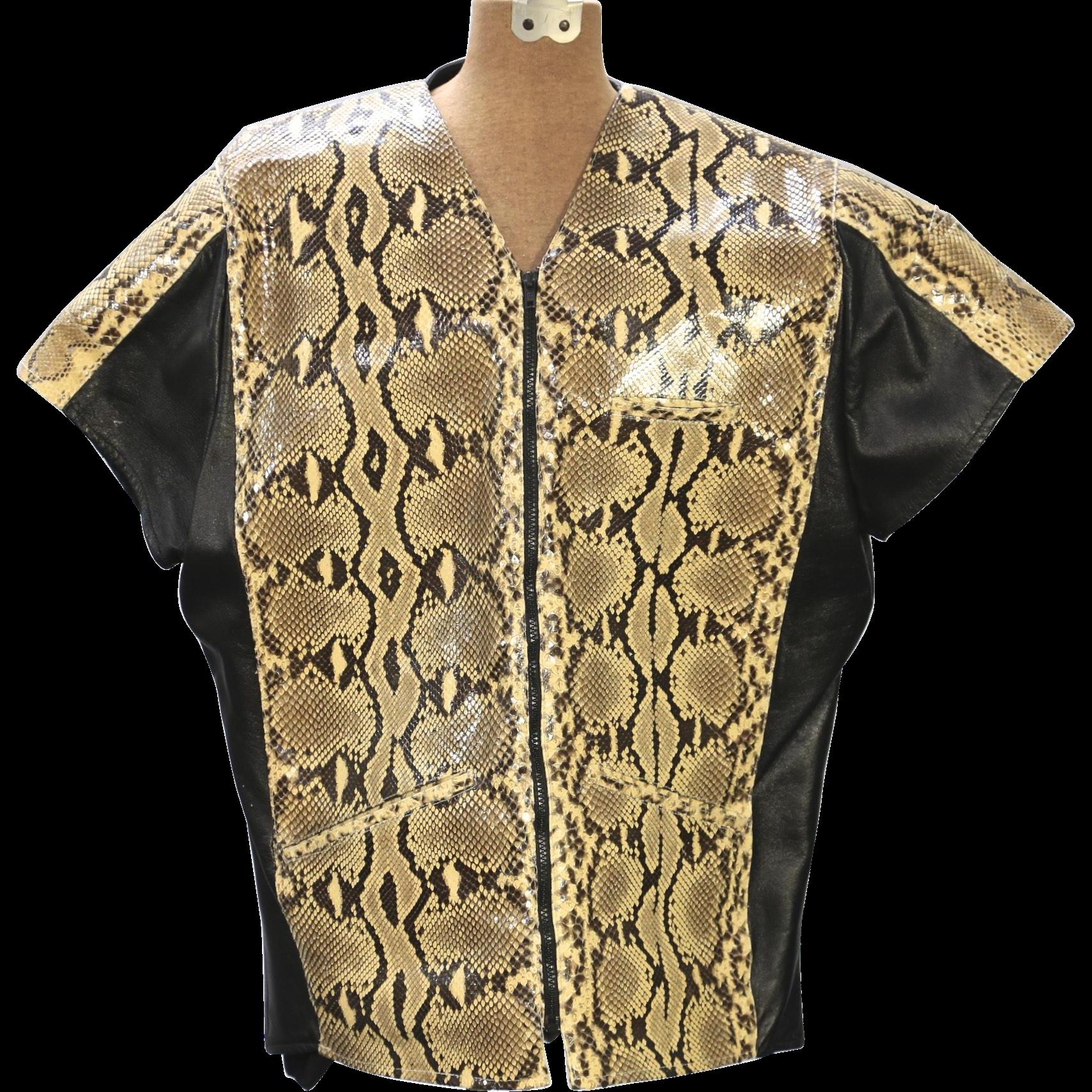 Vintage Real Python Snake Skin Black Leather Jacket Coat Short Sleeve Sz L - XL