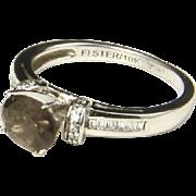 Vintage 10k White Gold Smokey Brown Rhinestone and Cubic Zirconia Ring Sz 7.5