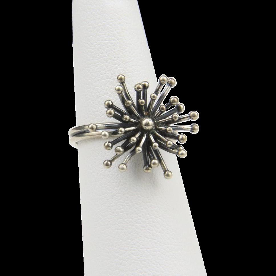 Vintage Beau Sterling Silver Modernist Starburst Ring Star Burst Atomic Adjustable Size