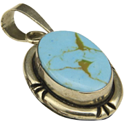 Vintage Mexico Sterling Silver & Turquoise Necklace Pendant Signed Artisan