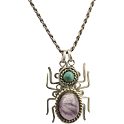 Vintage Spider Pendant Necklace Sterling Silver Amethyst Turquoise Wire Wrap