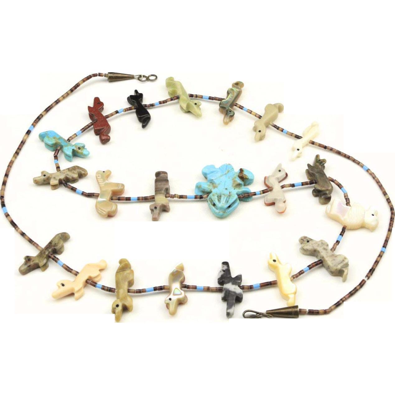Vintage Zuni Frog Fetish Necklace Native American Carved Animals Fox Bison Horse
