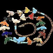Vintage Zuni Dolfin Fetish Necklace Native American Carved Animals