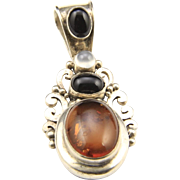 Swarti Bali Sterling Silver Amber Onxy Moonstone Pendant Signed Jewelry