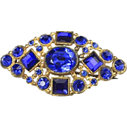 Vintage Czech Blue Cobalt Glass & Gold Tone Brooch Pin