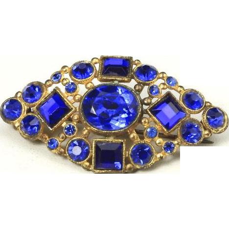 Vintage Czech Blue Cobalt Glass & Gold Tone Brooch Pin