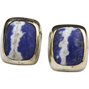 Vintage Sterling Silver Sodalite Earrings Taxco Mexico Artisan Signed Clip On
