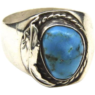 Vintage Large Men's Sterling Silver & Turquoise Ring Sz 12 Southewestern Leaf