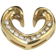 Beautiful 14k Yellow Gold & Diamond Heart Necklace Slide Pendant Love Romance