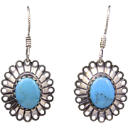 Vintage Sterling Silver & Turquoise Dangle Drop Earrings Southwestern
