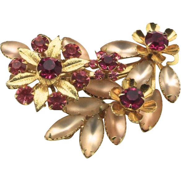 Vintage Pink Rhinestone Gold-Tone Flower Brooch Pin Judy Lee Signed 1950s Retro
