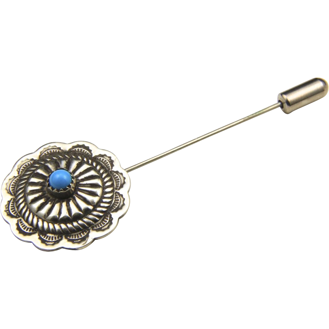 Vintage Sterling Silver & Turquoise Stamped Lapel Pin Southwestern