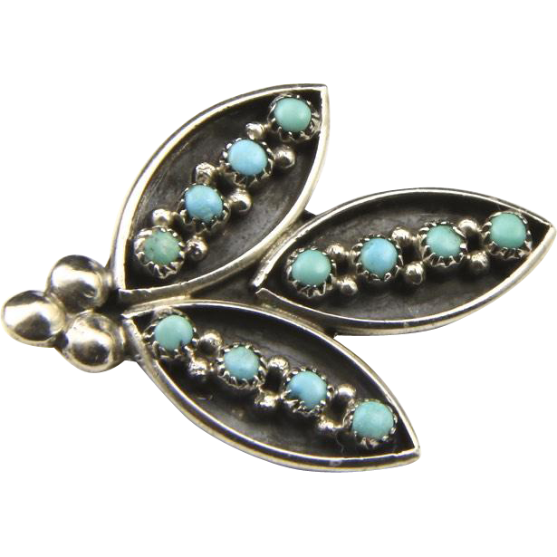 Vintage Zuni Floral Motif Sterling Silver & Turquoise Shadow Box Pin Brooch