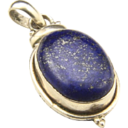 Vintage Sterling Silver & Lapis Lazuli Necklace Pendant Blue Stone Drop Oval