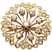 Vintage 14k Yellow Gold Diamond Seed Pearl Brooch Pin / Pendant Starburst Floral