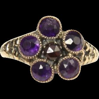Vintage Amethyst & Ruby 10k Gold Ring Old 1910s Floral Flower Gemstone Sz 7.5